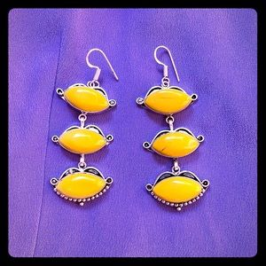 Yellow gemstone Silver earrings India Boho